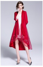 Free shipping autumn Chinese style flower embroidered long section loosen big size organza sun protection cloak trench for women