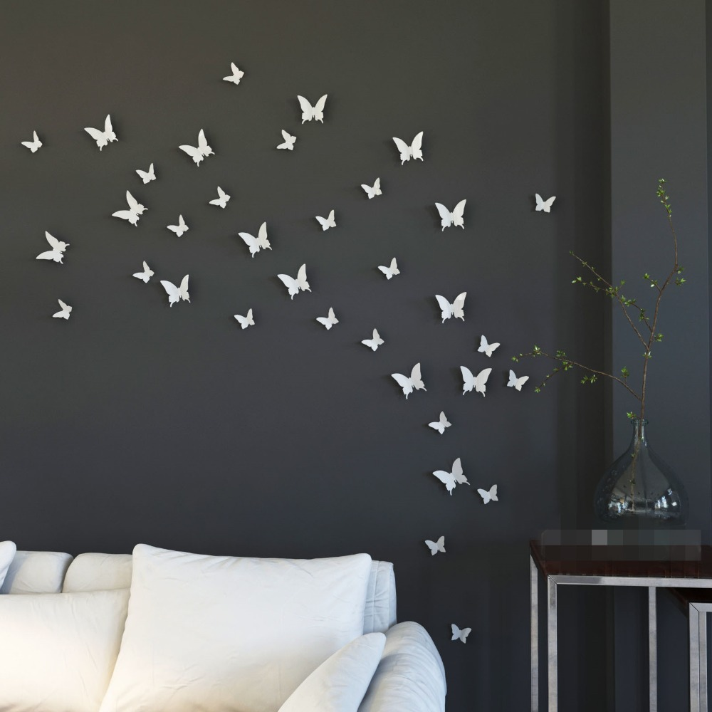 Ysk Mariposa In Gossip White Erfly Wall Stickers 12pcs Pvc Art Decal Home Diy Wedding Decoration From Garden On