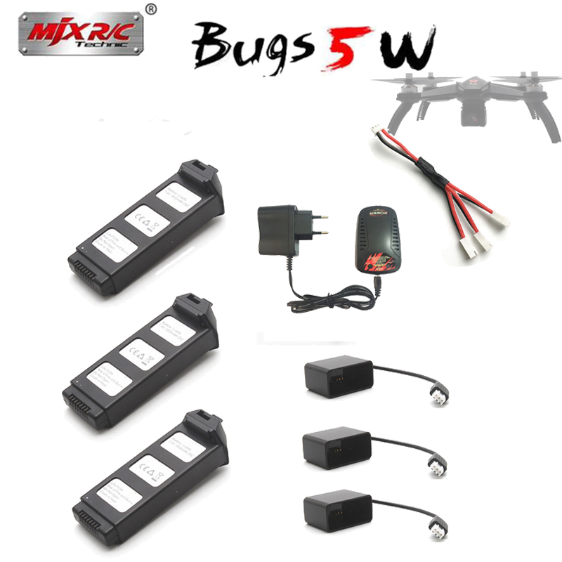 7,4 V 1800 mAh Lipo batería para MJX bichos 5 W RC helicóptero Quadcopter espaà a B5W cargador de Cable de carga adaptador Accesorios