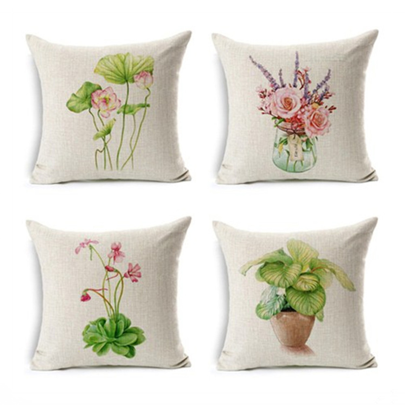 Pillow Case Small Pot Square Pillow Case Cushion Cover For Office Sofa Home Decor F