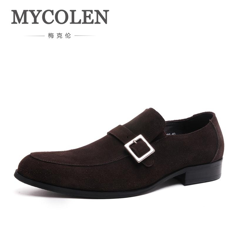 MYCOLEN Brand Men High Quality Comfortable Oxfords Genuine Leather Slip-On Pointed Toe Men Shoes Designer Elegant Male Flats gaofei gf cf201r pure copper silver plated carbon fiber hi end rca plug 4 pcs
