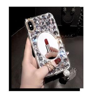 Image 5 - Lüks Bling elmas telefon kılıfı için Huawei onur 7X 7C 7A 8 9 10 Lite 8X Max 8A Pro Rhinestone kristal kapak Fundas Coque