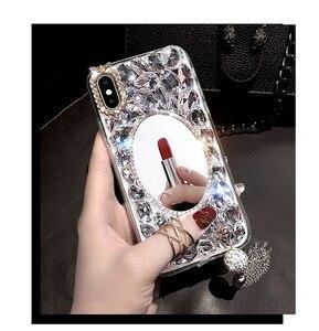 Image 5 - Luxo bling diamante caso de telefone para huawei honor 7x 7c 7a 8 9 10 lite 8x max 8a pro strass cristal capa fundas coque