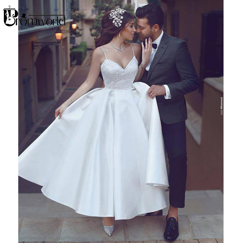 Us 69 0 31 Off Simple Tea Length Wedding Dress 2019 V Neck Backless Satin Lace A Line White Gowns Dubai Arabic Bridal Dresses In
