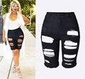 Buraco moda Calções Elásticos Femme Magro Rasgado Shorts Jeans 2016 Metade Jeans Rasgados Novo capris De Cintura Alta para as mulheres feminino
