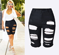 Fashion Hole Stretch Shorts Slim Torn Femme Denim Shorts 2016  Half Ripped Jeans New High Waist capris for women feminino