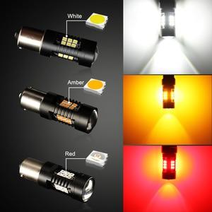 Image 5 - Farol de led para carro, 2 peças luz 1156 led ba15s p21w led bau15s py21w bay15d 1157 p21/5w r5w 21 smd lâmpadas led automáticas 12v 24v, 3030