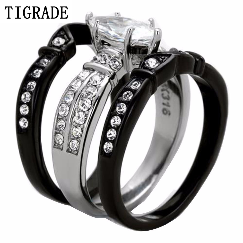 Tigrade Trendy 3 Rounds Cz Paved Engagement Ring Set Black Silver Wedding  Band Finger Jewelry Stainless