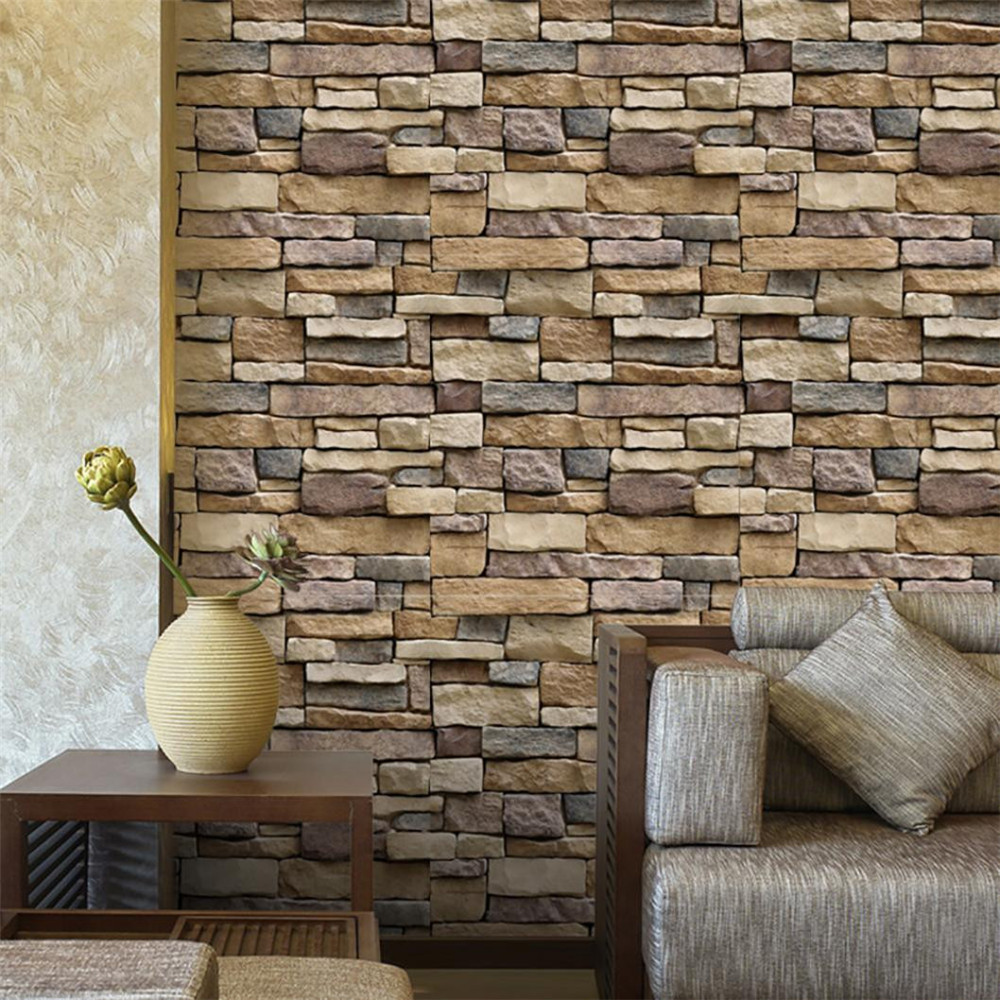 2018 Fashion Home & Garden 3D Wall Paper Brick Stone Rustic Effect Self-adhesive Wall Sticker Home Decor brick wall hanging printed home decor tapestry