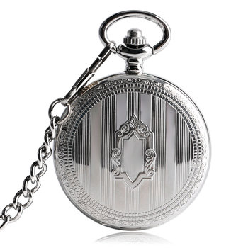 Retro Silver Shield Self Winding Automatic Mechanical Pocket Watch Antique Clock Shield Pendant Fob Chain Gifts For Men Women golden black sliver antique hollow automatic mechanical pocket watch fob chain hand winding full steel sculpture for men wome