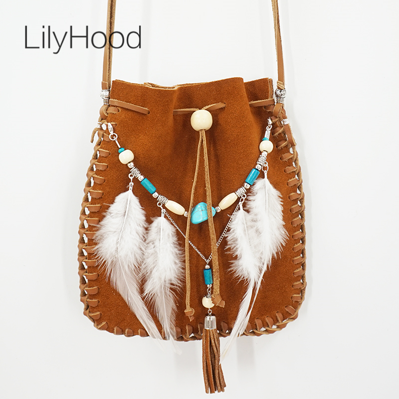 LilyHood Real Leather Small Bag Handmade Brown Beaded Hippie Gypsy Indian Tribal Bohemian Ibiza Boho Chic Feminine Small Pouch chelsea verde hippie chic boho flowy poncho blouse shirt