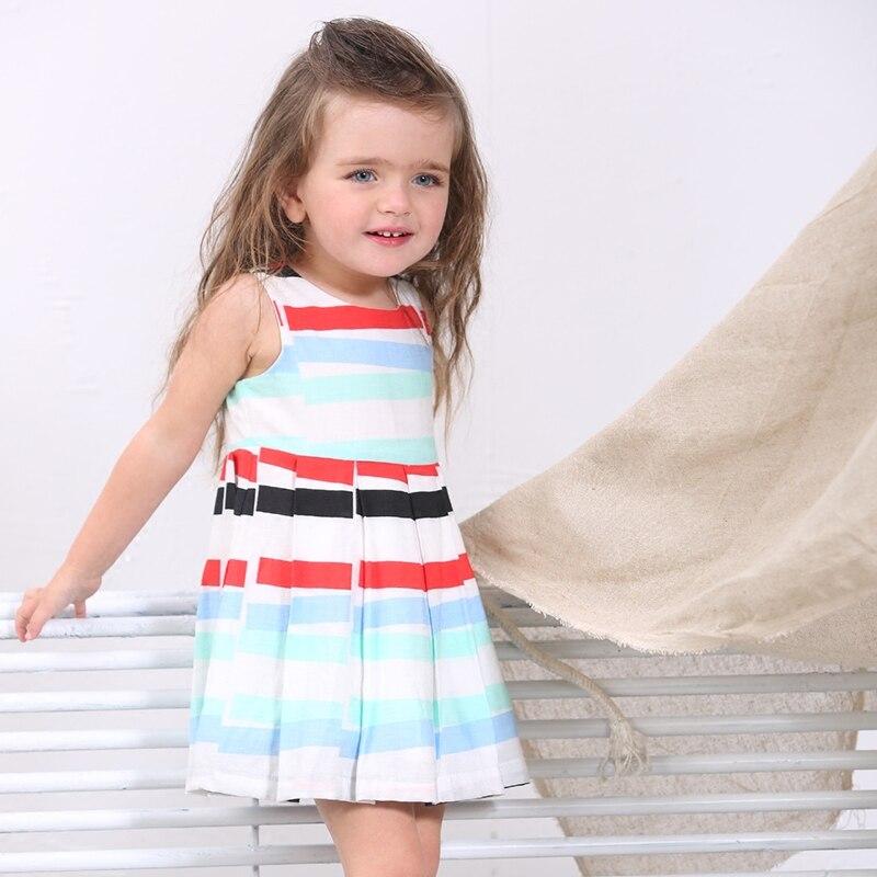 2016 new design linen baby girl clothes 1 2 3 4 years knee highs summer sleeveless cute princess knee-length stripes slim dress