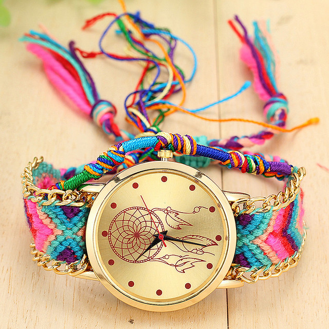 Vansvar Vintage Women Native Handmade Quartz Watch Knitted Dreamcatcher Friendsh