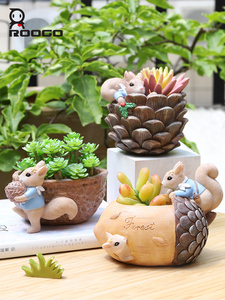 Image 5 - Roogo Cute Resin Animal Pots For Flowers Squirrel Nuts House Cachepot Cartoon Flower Pot Succulent For Home Garden Decoration