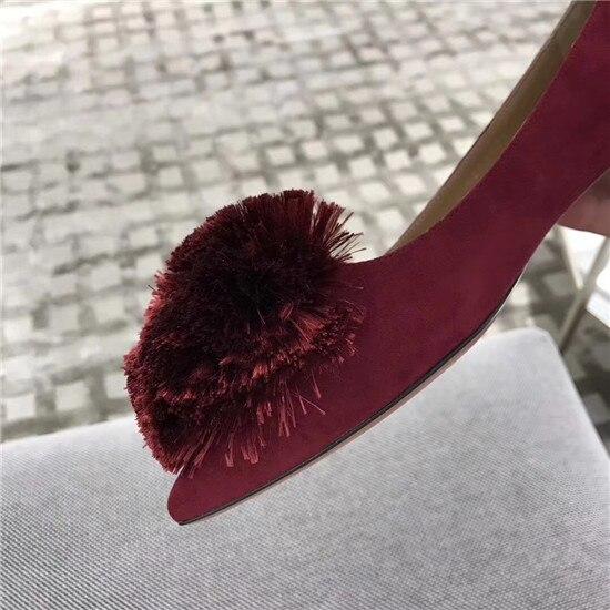 En Boule Rouge Plat Picture Daim Mode Gladiateur Sandalias Casual Nouveau Grande Femmes As Picture Vin Chaussures Sandales De Poils Mujer as Femme EwvwPOq