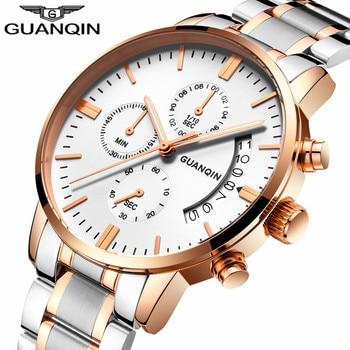 6d9d6807 Дешевые GUANQIN Горячая Продажа Часы мужские роскошные 2018 новые мужские  наручные часы хронограф дат мужские часы