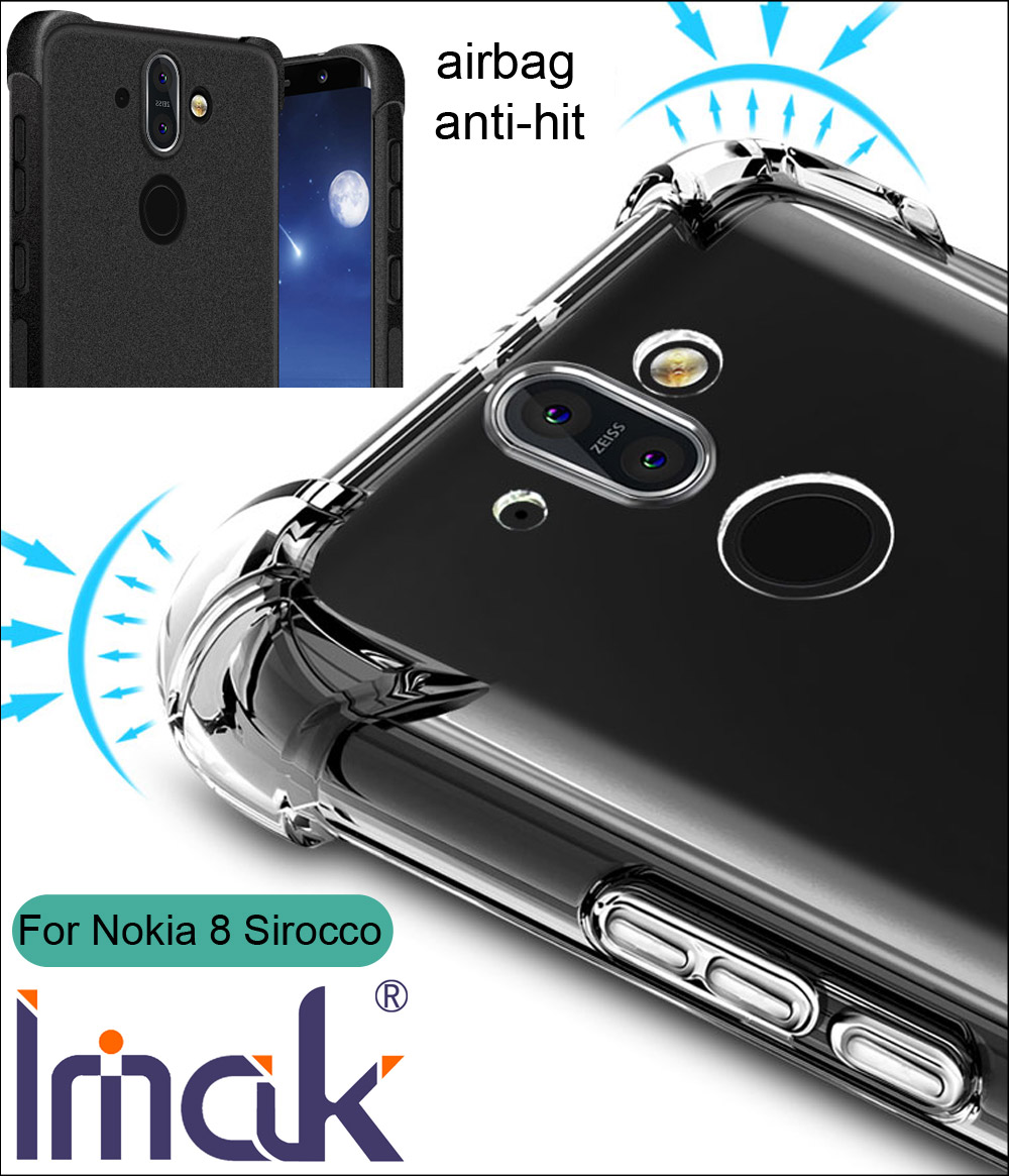 pretty nice 3b6d9 d8e5d US $4.98 |IMAK Airbag Case For Nokia 8 Sirocco Drop resistance anti hit  Shock Soft TPU Silicone Cover-in Half-wrapped Case from Cellphones & ...