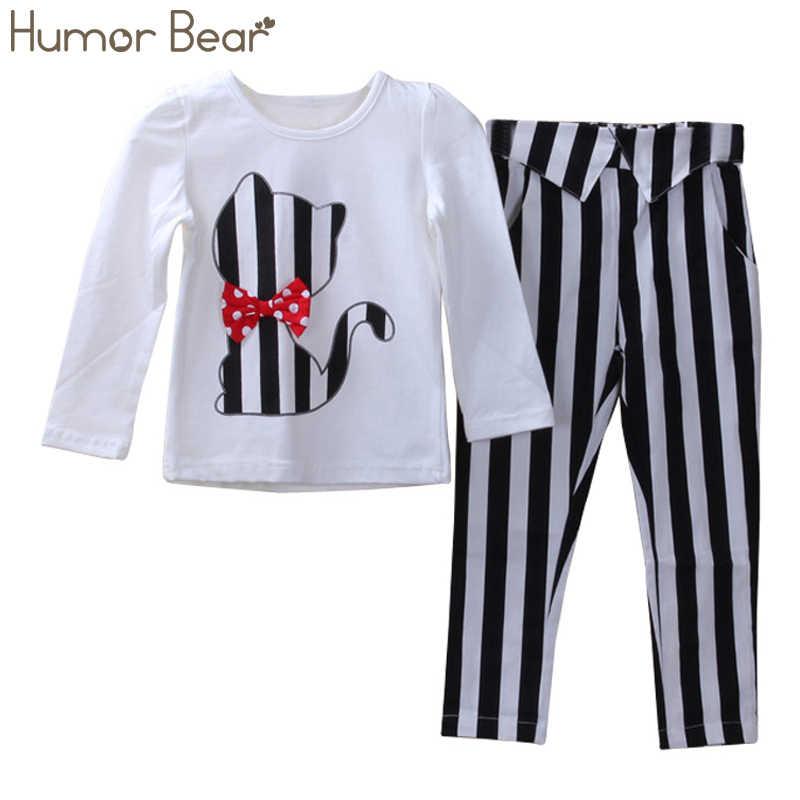 7a88de51f60 Humor Bear детская осенняя одежда для маленьких девочек Модная футболка с  рисунком кота + штаны детский
