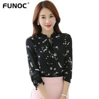 Fashion 2017 Woman Chiffon Blouse Long Sleeve Autumn Shirt Women Casual Floral Tops Blusas Office Work