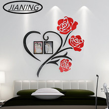 Heart Love flower wall stickers 3d stereo acrylic crystal wedding room bedroom home decorative painting the living bed