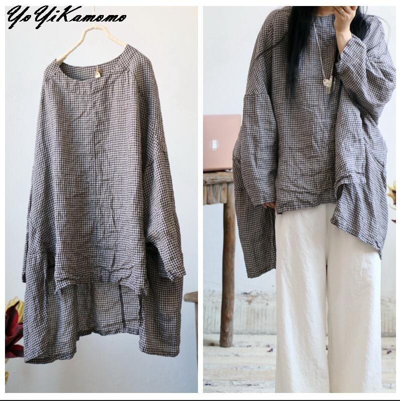 Long Sleeve Shirt Women 2018 Autumn Spring Big Size High quality Plaid Irregular Shirt Female Loose