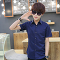 T china cheap wholesale 2016 Summer new short-sleeve shirt male fashion casual slim solid color half sleeve shirt men clothing