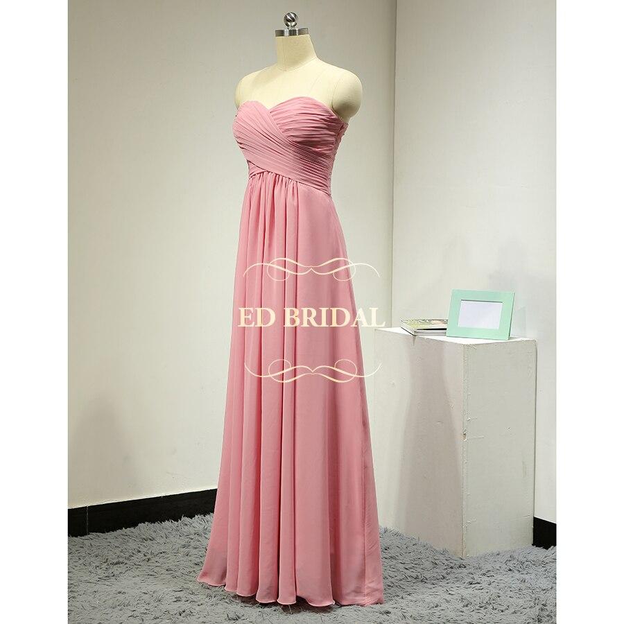 Custom Made A Line Sweetheart Chiffon Pink Bridesmaid Dresses Long ...