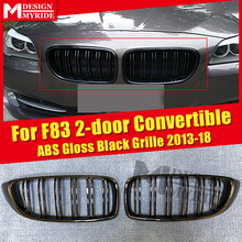 F83 M-Style Grille ABS Gloss Black 1 Pair For M4 2-door Convertible 420i 428i 430i 435i 2 Slats Front Kidney 2013-18