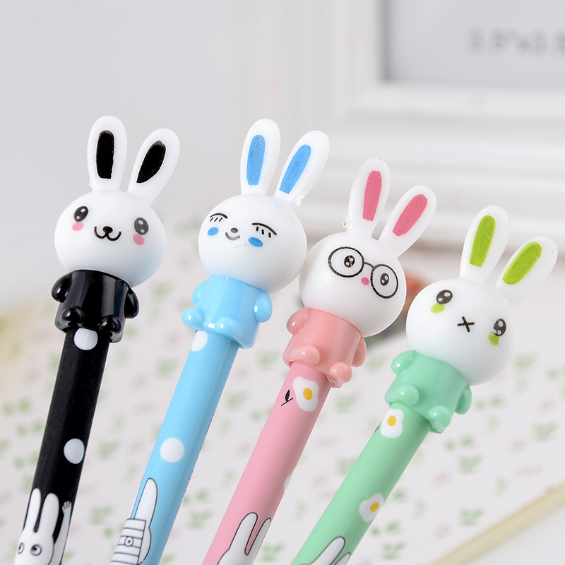 4pcs/lot 0.38mm Cute Rabbit Gel Pen Molang Bunny Black Gel ink Signature Pen Stationery School Office Supply Promotional Gift