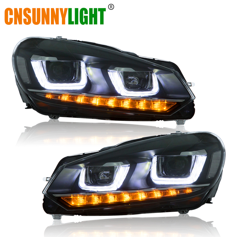 CNSUNNYLIGHT For VW/Volkswagen Golf6/MK6 2010-2014 Car Headlight Assembly LED DRL Turn Signal Xenon HID Projector Lens Plug Play