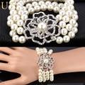U7 Multi-layer White Women Pearl Bracelet  Pearl Fashion Jewelry Wholesale Classic Gift Big Flower Strand Bracelet H574