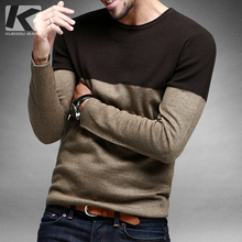Free shipping men's autumn color block decoration o-neck pullover sweater 15838