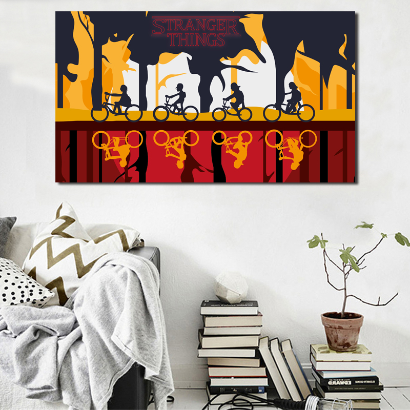 Stranger Things Cartoon Reteo Wallpaper Wall Art Canvas Posters Prints Painting Oil Wall Pictures Kids Room Bedroom Home Decor in Painting Calligraphy from Home Garden