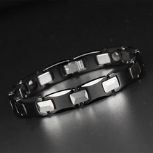 Black Ceramic Health Magnetic Energy Tungsten Carbide Bracelet Bangle for Arthritis Hologram Bracelets with Free Removal Tool(China)