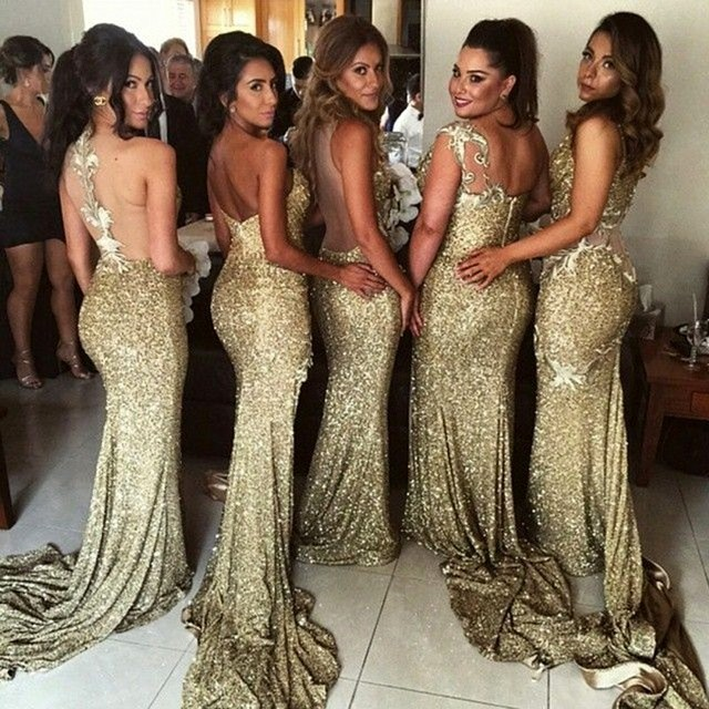 5 Styles Sequins Mermaid Lace Applique Gold Bridesmaid Gowns ...