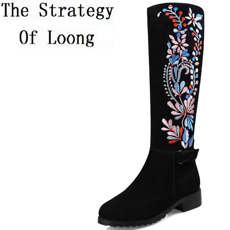 웃 유Mujeres Cuero auténtico estilo tradicional bordado rodilla ...
