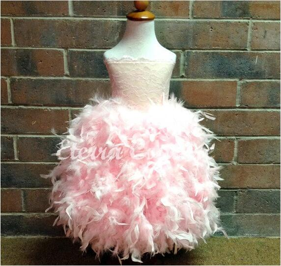 2017 New Generous Custom Flower Girl Dress Pink Feather Lace First Communion Dresses Ball Gowns Girls Pageant Birthday Gown children flower girl dresses white lace embroidery kids party wedding pageant ball gowns for girls first communion dress custom