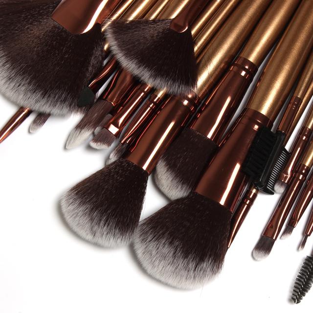 Caliente-venta profesional 21 Unids Salón Lana Persa de Oro maquillaje Pinceles Set Azul Marino Bolso de cuero
