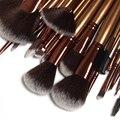 Hot-venda profissional 21 Pcs Salão de Lã Persa Ouro Pincéis Make-up Definir Azul Marinho Bolsa de couro