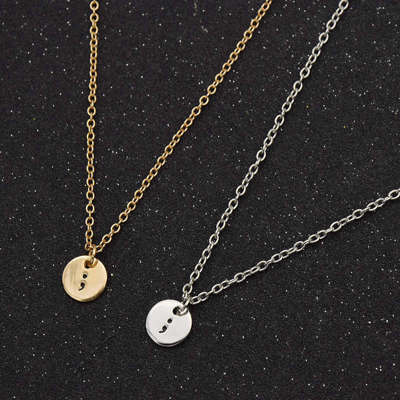 fashion lychee Inspirational Semicolon Circle Pendant Engraving Silver  Chain Necklace for Women Men Jewelry