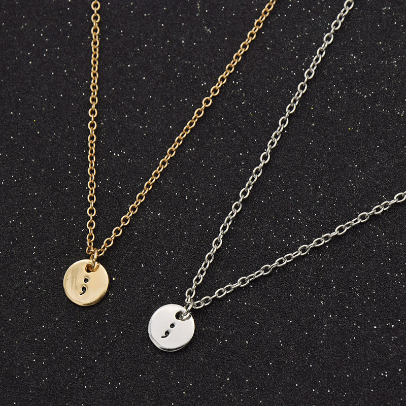 Circle engraving pendants promotion shop for promotional circle inspirational semicolon circle pendant engraving silver gold plated chain necklace for women men jewelry mozeypictures Image collections
