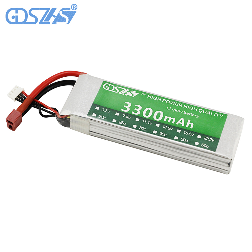 GDSZHS RC Lipo Battery 3300mAh 11.1V 3S 35C  Li-Po Battery for Quadcopter Airplane  Drone RC Helicopter 3pcs 3 7v 900mah li po battery 3 in 1 black us regulation charger and charging cable for rc xs809 xs809hc xs809hw drone
