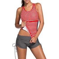 Czerwony Pasek Kobiet Bikini Strój Kąpielowy Zestaw Usztywniany Stroje Kąpielowe Kobiet Tank Top Spodenki Pływać Pnie Strój Kąpielowy