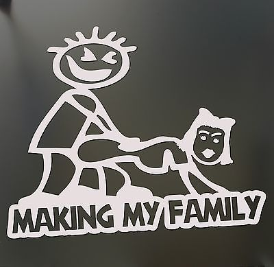 Tintinsdrop shipping making my stick figure family funny banging decal bumper sticker car window