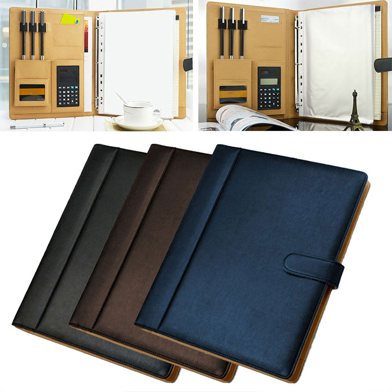 8 Packets File Folder A4 PU Ring Binder Display Notebook Folders With Calculator Document Bag Organizer Business Office Supplies(China)
