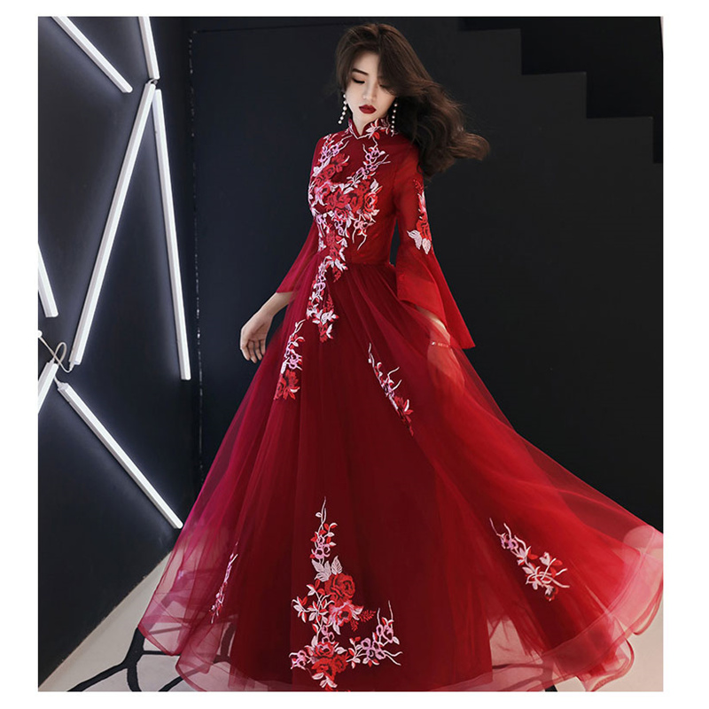 It's YiiYa Evening Dress 2019 Floral Embroid Tulle Women Party Dress Standing Collar Long Sleeve Robe De Soiree Plus Size E476