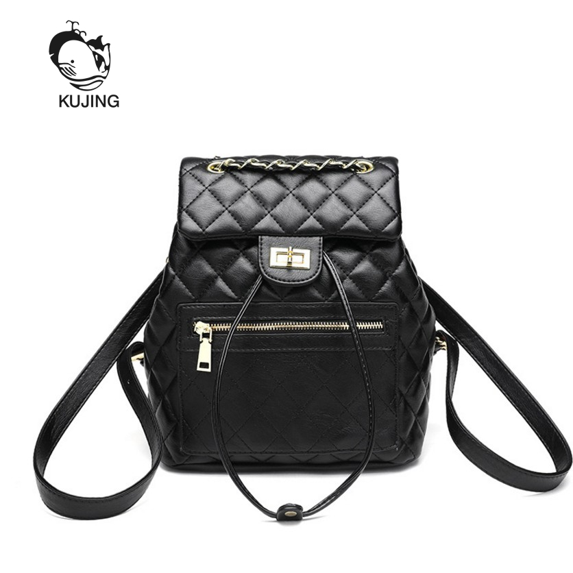 Kujing Womens Backpack High Quality Pu Chain Women Casual Backpack Luxury Women Shopping Backpacks Hot Womens Fashion Backpack Excellent Quality Backpacks