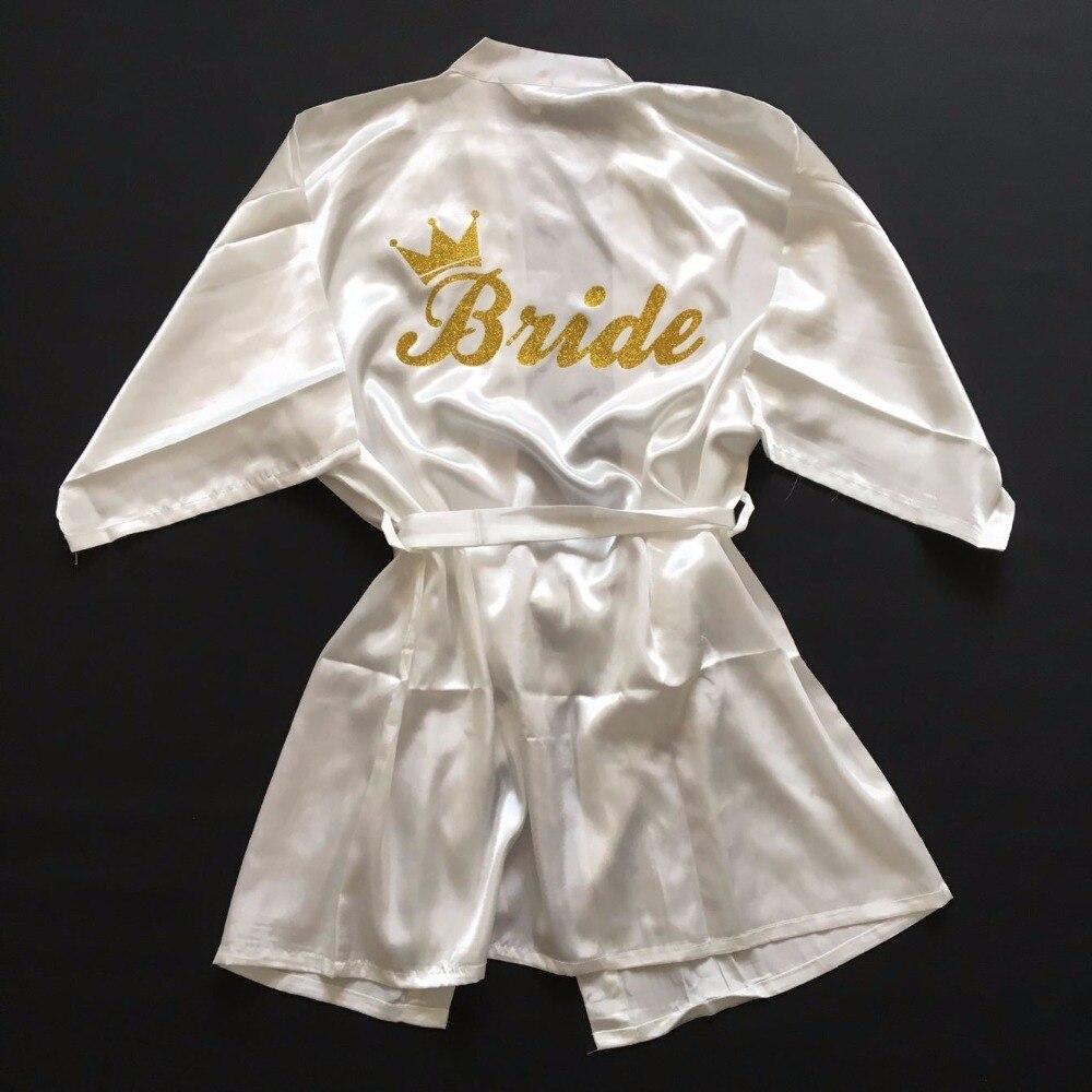 Braut Krone Team Braut Goldene Glitter Druck Kimono Roben Faux Silk Frauen