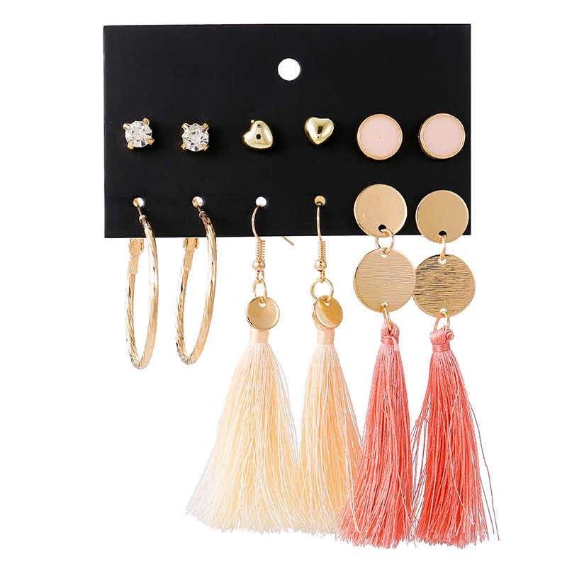 YANG&RH 6 Pairs/Lot 2019 New Trendy Heart Crystal Bridal Jewelry Stud Earrings Sets for Women Vintage Coin Tassel Circle Earring