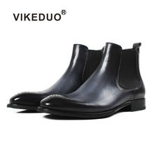VIKEDUO 2019 Mens Chelsea Boots Gray Genuine Cow Leather Male Botas Brand Handmade Brogue Ankle Boot Classic Footwear Masculino